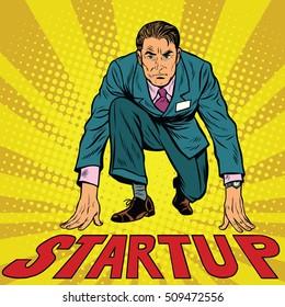 Startup retro businessman on starting line, pop art retro vector