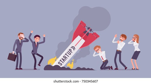 Startup rocket crash. Team of young unhappy people sad about launching not working project, management failed to achieve profit. Vector flat style cartoon illustration isolated on blue background
