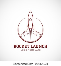 Startup Rocket Space Ship Abstract Vector Logo Template or Label, Badge. Isolated Illustration, Perfect for Corporate Identity.