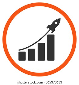 Startup Sales vector icon. Style is bicolor flat circled symbol, orange and gray colors, rounded angles, white background.