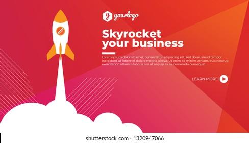 startup skyrocket website header design with red and orange color