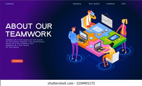 Startup team. People interact with each other, with computers, graphics, puzzles. Goal thinking. 3d isometric vector illustration.  Cooperation construction by agency group.