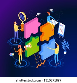 Startup team. People interact with each other, with computers, graphics, puzzles. Goal thinking. Modern 3d isometric vector illustration of web page.