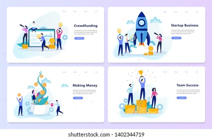Startup and teamwork concept. Crowdfunding campaign, business profit and financial growth. Successful strategy. Vector illustration in cartoon style