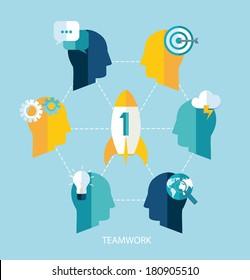 Startup and teamwork vector concept. Flat design.