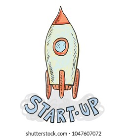 Startup technology concept. doodle vector