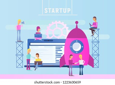Startup Technology Concept with Spaceship. People are Launching Rocket. Cohesive Teamwork. Vector Illustration for Web Page, Website, Banner, Social Media and Landing Page.