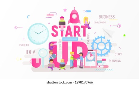 Startup Technology Concept with Spaceship. People are Launching Rocket near Big Letters. Cohesive Teamwork. Vector Illustration for Web Page, Website, Banner, Social Media and Landing Page.
