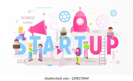 Startup Technology Concept with Spaceship. Young People are Launching Rocket near Big Letters. Cohesive Teamwork. Vector Illustration for Web Page, Website, Banner, Social Media and Landing Page.