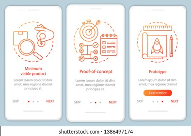 Startup testing onboarding mobile app page screen with linear concepts. Product test. MVP, POC, prototype walkthrough steps graphic instructions. UX, UI, GUI vector template with illustrations