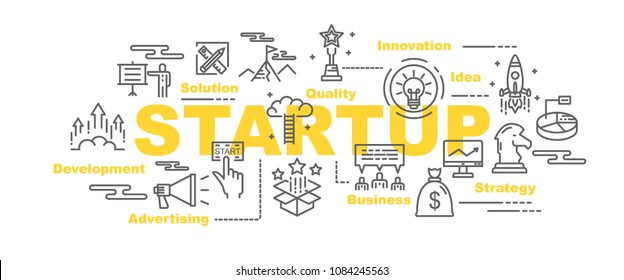 startup vector banner design concept, flat style with icons