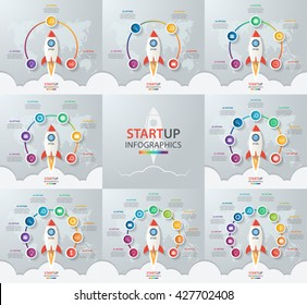 Startup vector circle infographic set with rocket launch and styled world map. 3, 4, 5, 6, 7, 8, 9, 10 options, parts, steps, processes business concept for graphs, charts, diagrams.