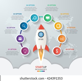 Startup vector circle infographics with rocket launch and styled world map. 8 options, parts, steps, processes business concept for graphs, charts, diagrams.