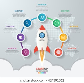 Startup vector circle infographics with rocket launch and styled world map. 7 options, parts, steps, processes business concept for graphs, charts, diagrams.