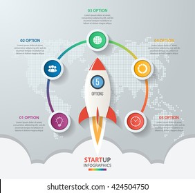 Startup vector circle infographics with rocket launch and styled world map. 5 options, parts, steps, processes business concept for graphs, charts, diagrams.