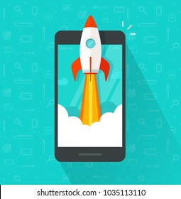 Startup vector concept, flat cartoon rocket or rocketship launch, mobile phone or smartphone, idea of successful business project start up, boost technology, innovation strategy release clipart