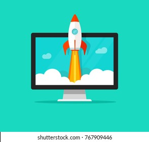 Startup vector concept, flat cartoon style quick rocket launch and computer or desktop pc, idea of successful business project start up or release, boost technology, innovation strategy