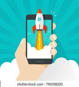 Startup vector concept, flat cartoon rocket or rocketship launch, mobile phone or smartphone, idea of successful business project start up, boost cellphone technology, innovation strategy release