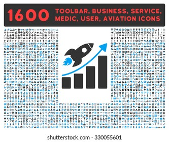 Startup vector icon and 1600 other business, service tools, medical care, software toolbar, web interface pictograms. Style is bicolor flat symbols, blue and gray colors, rounded angles, white