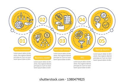 Startup vector infographic template. Launch project. Business presentation design elements. Data visualization with five steps and options. Process timeline chart. Workflow layout with linear icons