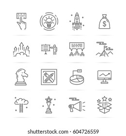 startup vector line icons, minimal pictogram design, editable stroke for any resolution