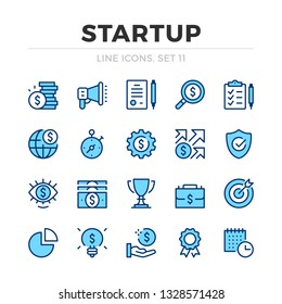 Startup vector line icons set. Thin line design. Outline graphic elements, simple stroke symbols. Business start-up icons