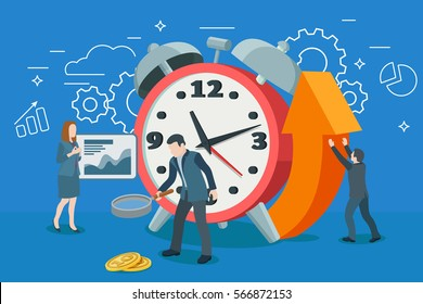 Startup work moments. Alarm Clock in a flat 3D style. Search money, contracting, promotion. Time management and optimization of business processes. The woman at the blackboard with infographics.