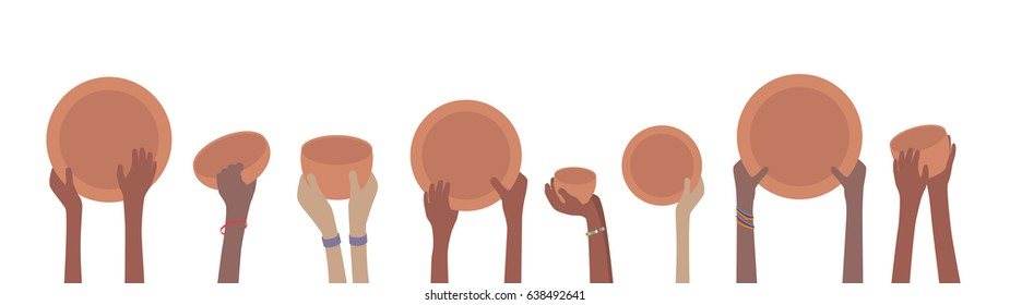 Starving Famine Hands with Empty Plates and Bowls Banner