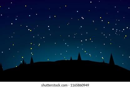 Stary night landscape vector illustration