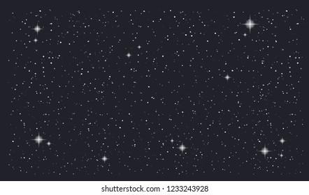 Stary night sky horizontal background. Vector illustration
