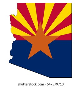 State of Arizona flag inside the map