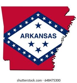 State of Arkansas flag inside the map