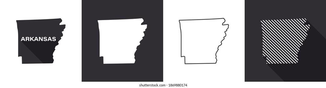 State of Arkansas. Map of Arkansas. United States of America Arkansas. State maps. Vector illustration