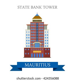 State Bank Tower in Mauritius. Flat cartoon style historic sight showplace attraction web site vector illustration. World countries cities vacation travel sightseeing Africa island nation collection.