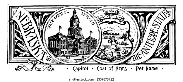 The state banner of Nebraska the antelope state this seal has two circles in center one has state house other one has train and mountains in the background blacksmith steamboat vintage