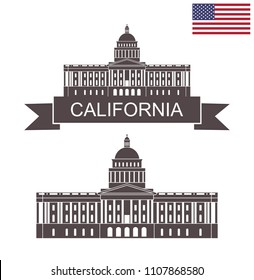 State of California. Building of State Capitol in Sacramento. EPS 10. Vector illustration