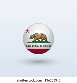 State of California flag circle form on gray background. Vector illustration.