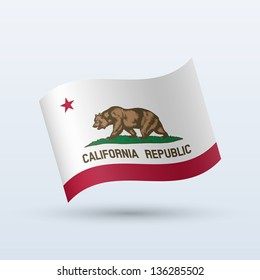 State of California flag waving form on gray background. Vector illustration.