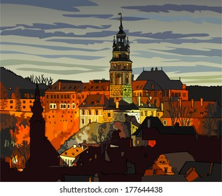 State castle in the Cesky Krumlov (Czech Republic) at night - cartoon illustration