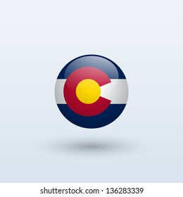 State of Colorado flag circle form on gray background. Vector illustration.