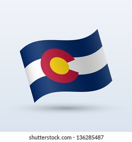State of Colorado flag waving form on gray background. Vector illustration.