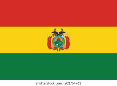 State flag of Bolivia. Vector. Accurate dimensions, element proportions and colors.
