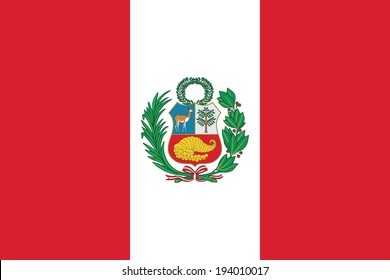 State flag of Peru. Vector. Accurate dimensions, elements proportions and colors.