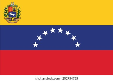 State flag of Venezuela. Vector. Accurate dimensions, element proportions and colors.