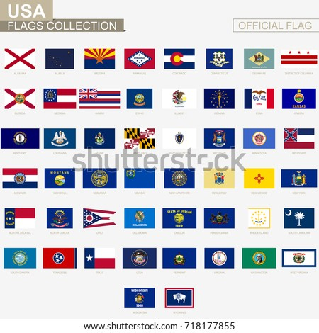 state flags united states america official stock vector royalty