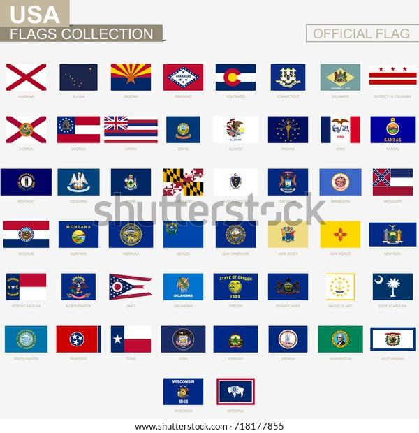 Staatliche Flaggen Der Vereinigten Staaten Von Stock Vektorgrafik