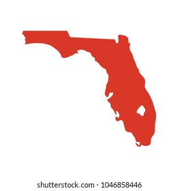 State of Florida vector map silhouette. Outline shape icon or contour map of the State of Florida.