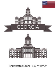State of Georgia.Georgia State Capitol Building. EPS 10. Vector illustration