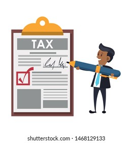 state government taxes business, executive business man managing personal finances cartoon vector illustration graphic design