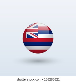 State of Hawaii flag circle form on gray background. Vector illustration.